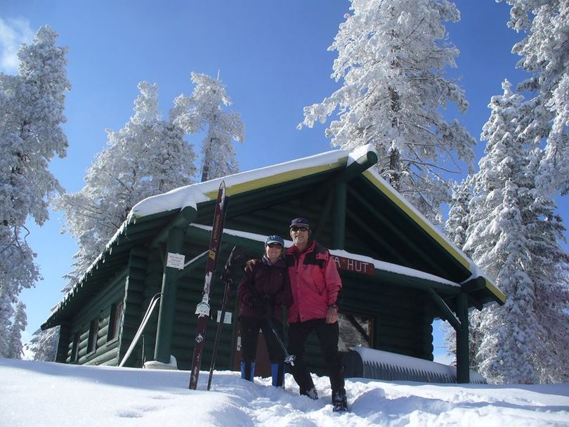 Nora Searing and Cris Currie cross-country skied on Nov. 7, 2017, to the Nova Hut on the yet-ungroomed nordic trails at Mount Spokane State Park.  (Courtesy)