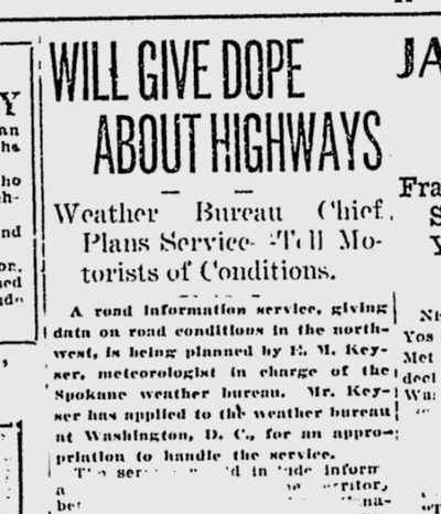 Daily road condition reports were coming soon, the Spokane Daily Chronicle announced on March 22, 1921. Concerns about not only snow and ice, but mud, were common for drivers at the time.  (S-R archives)