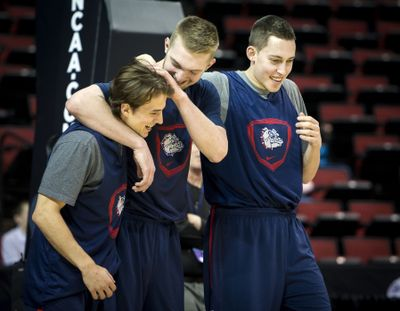 Bulldogs Kevin Pangos, Domantas Sabonis and Kyle Wiltjer, left to right, keep the mood upbeat. (Colin Mulvany)