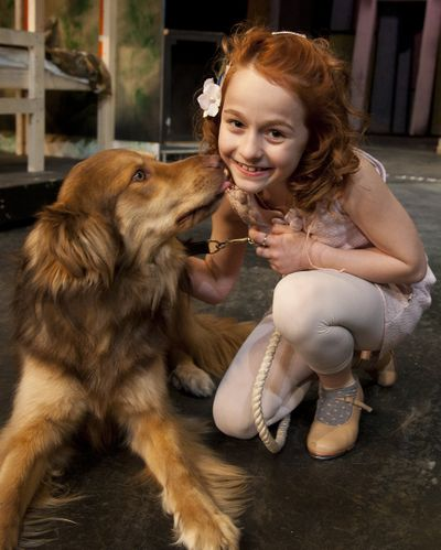 """Sophia Caruso, 10, plays the starring role in """"Annie,"""" which opens at Spokane Civic Theatre on Friday and runs through June 17. """"Sandy,"""" a local shelter dog, co-stars. (Colin Mulvany)"""