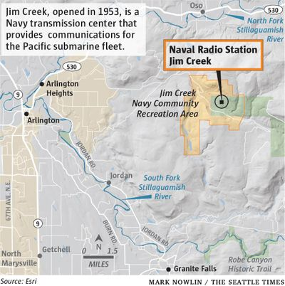 A Russian state television broadcaster asserts that one of his country's top targets for attack in the event of nuclear war would be a 4,700-acre site east of Arlington that encompasses a key transmission center for the Pacific submarine fleet and a forested recreational area for military personnel. (Mark Nowlin/Seattle Times)