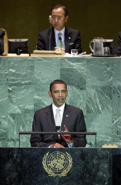 President Barack Obama addresses the Summit on Climate Change on Tuesday as U.N. Secretary-General Ban Ki-moon listens at the United Nations.  (Associated Press / The Spokesman-Review)