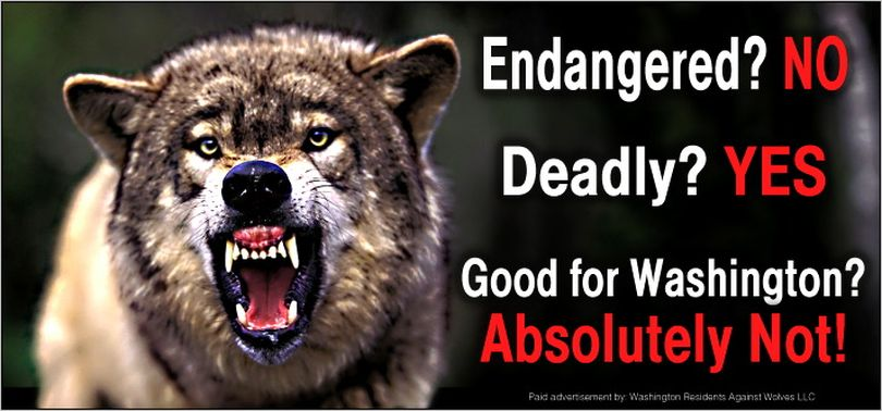 An example of a billboard in a campaign announced in November 2014 targeting the Spokane area by a group called Washington Residents Against Wolves.