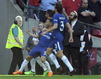 Chelsea's Eden Hazard celebrates with teammates after scoring during the first half of the English FA Cup final soccer match between Chelsea and Manchester United at Wembley Stadium in London, England, Saturday, May 19, 2018. (Rui Vieira / Associated Press)