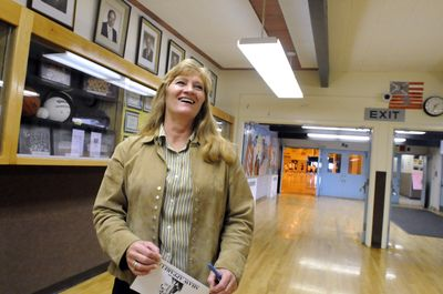 Christine Lynch, principal at Shaw Middle School stands in the hallway on Friday.  Lynch was named Washington's Middle Level Principal of the Year.  (Jesse Tinsley / The Spokesman-Review)