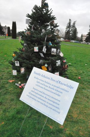 OLYMPIA -- Tree erected on the Capitol Campus in December 2010 by Seattle Atheists (Jim Camden/The Spokesman-Review)