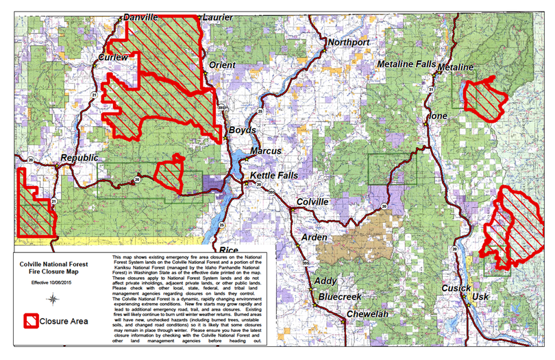 Wildfire access closures on the Colville National forest are being reduced, but some are are still in place in early October  2015. (U.S. Forest Service)