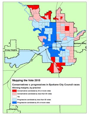 This map shows the winning vote margins for conservative and progressive candidates in the Spokane City Council races based on the Wednesday evening vote count. (Jim Camden/Spokesman-Review)