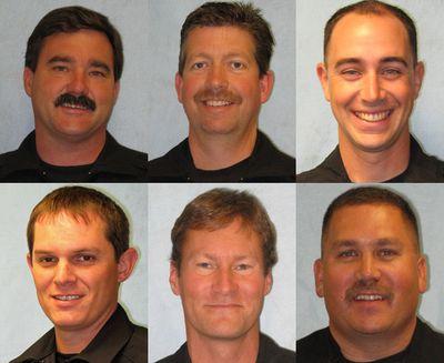 From upper left, Spokane police Officers Dan Cole, Bill Hager, Kyle Heuett, Mike McNab, Bruce Palmer and Doug Strosahl. (Courtesy of Spokane Police Department)