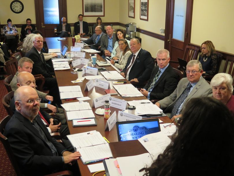The Idaho Legislative Council meets on Friday, Oct. 27, 2017; the lawmakers conferred with officials including Senate Secretary Jennifer Novak on how to modify the way they do business at the end of each year's session in light of a court ruling. (Betsy Z. Russell)