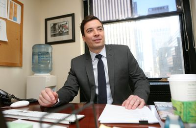 "Jimmy Fallon debuts tonight  as host of NBC's  ""Late Night With Jimmy Fallon."" He posed for a photograph in his Rockefeller Center office Monday. (Associated Press / The Spokesman-Review)"