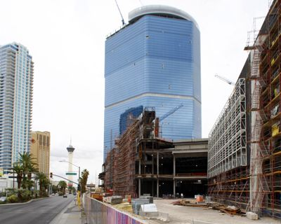 The stalled Fontainebleau Las Vegas casino-hotel project is shown on Oct. 12, 2009. (Steve Marcus / Associated Press)