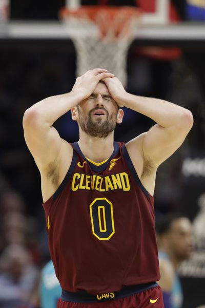 Cleveland Cavaliers' Kevin Love reacts after missing a three-point basket late in the second half of an NBA basketball game against the Charlotte Hornets, Thursday, Jan. 2, 2020, in Cleveland. (Tony Dejak / Associated Press)