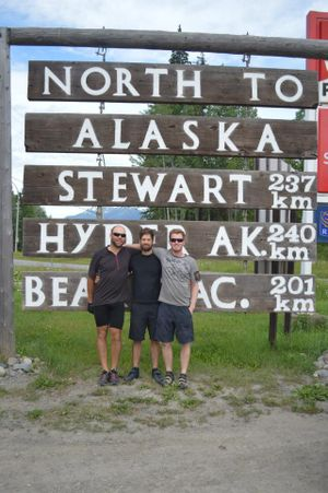 Point to Bay riders Jordan Achilli, Gabe Dawson and Mac Hollan are bicycling from Sandpoint, Idaho, to Prudhoe Bay in the summer of 2013 to raise money for a Sandpoint schools charity.  (courtesy)