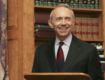 Justice David Souter smiles after speaking  at an event  in Concord, N.H., last July.  (Associated Press / The Spokesman-Review)