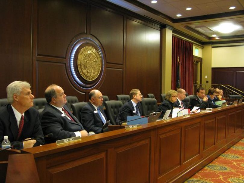 Senate State Affairs Committee members listen to testimony at Friday morning's nullification hearing, which stretched for close to three hours. (Betsy Russell)