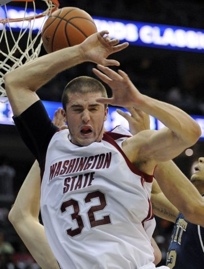 Washington State senior forward Daven Harmeling didn't see any action in Thursday night's game against UCLA.  (Associated Press / The Spokesman-Review)