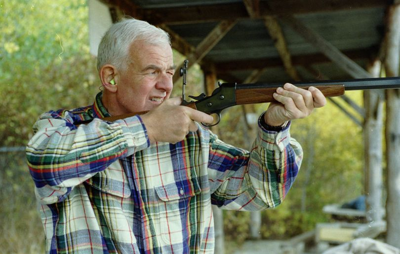 Speaker of the House Tom Foley shoots a buffalo gun at the Spokane Valley Rifle and Pistol Range in this 1994 photo. Foley met with club members in an attempt to counter an anti-Foley NRA ad campaign that had begun in the 5th District of Washington state. (File)