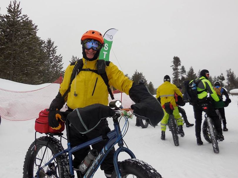 Spokane fat bike enthusiast Dan DeRuyter at the start of the 2014 Jay's Backyard Fat Pursuit in the Teton Valley of Idaho and Wyoming. (courtesy)