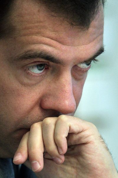 Russian President Dmitry Medvedev is hoping to get his countrymen to cut back on their drinking.  (File Associated Press / The Spokesman-Review)