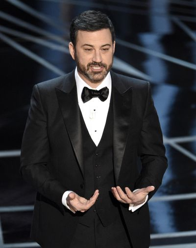 Host Jimmy Kimmel speaks at the Oscars on Sunday, Feb. 26, 2017, at the Dolby Theatre in Los Angeles. (Chris Pizzello / ASSOCIATED PRESS)
