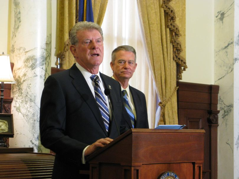 Idaho Gov. Butch Otter calls a special session of the Legislature, in a news conference on Wednesday (Betsy Z. Russell)