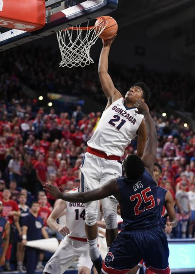 Gonzaga forward Rui Hachimura (21) dunks the ball during the first half of a college basketball game, Tues. Nov. 14, 2017, in the McCarthey Athletic Center. (Colin Mulvany / The Spokesman-Review)