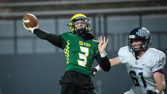 Shadle Park's Ryan Schmidt throws during the Greater Spokane League 3A title game against Mt. Spokane  (Libby Kamrowski)