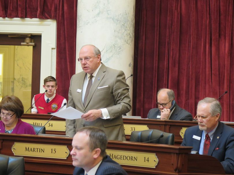 Sen. Fred Martin, R-Boise, argues in favor of HB 250, the bill repealing an invalidated anti-abortion law, in the Idaho Senate on Monday, March 20, 2017. (Betsy Z. Russell)