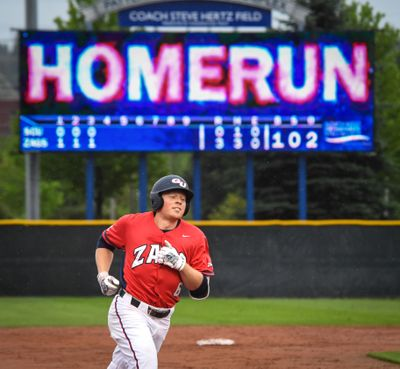 Gonzaga shortstop Gunnar Schubert trots around the bases after hitting a home run in the third inning against Santa Clara on May 18, 2018, at Patterson Baseball Complex. (Dan Pelle / The Spokesman-Review)