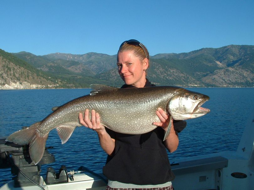 Jolene Rhoads of Spangle poses with a 21-pound 3 ounce Lake Chelan lake trout she caught while fishing with guide Jeff Witkowski of Darrell & Dad's Family Guide Service. (Darrell & Dad's Family Guide Service)