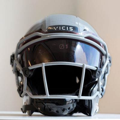 FILE - In this Sept. 11, 2017, file photo, a VICIS Zero1 helmet is displayed in New York. (Mark Lennihan / Associated Press)