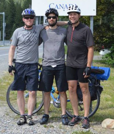 Mac Hollan, left, and his cycling partners.