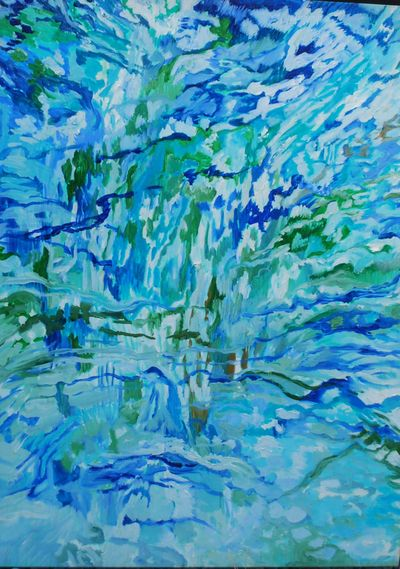 """Karen Mobley's """"Aqua Water,"""" oil on board, is exhibited at the Iron Goat this month. (Karen Mobley)"""
