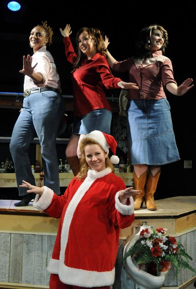 """Jennifer Jacobs as Angela (front), along with, from left, Patrice Thompson as Charilee, Marina Kalani as Sue Ellen and Emily Cleveland as Darlene in Interplayers' production of """"Honky Tonk Angels Holiday Spectacular.""""  (Dan Pelle)"""