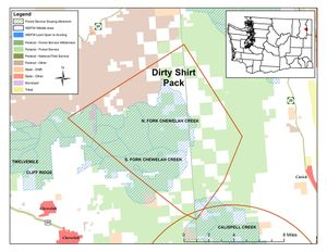 Map shows approximate range of the Dirty Shirt wolf pack in northeastern Washington. (Washington Department of Fish and Wildlife)