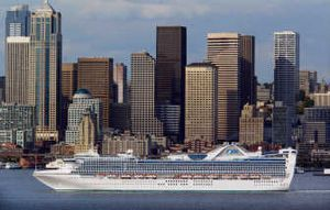 The Star Princess sails past the Seattle skyline, heading out of Terminal 30 bound for Alaska.  (MCT / The Spokesman-Review)