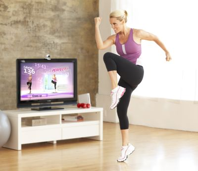 """Actress Jenny McCarthy works out with the fitness program, """"Your Shape."""" Ubisoft (Ubisoft)"""