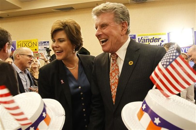 Idaho Gov. Butch Otter, with wife Lori, celebrates on election night in Boise (AP / Otto Kitsinger)