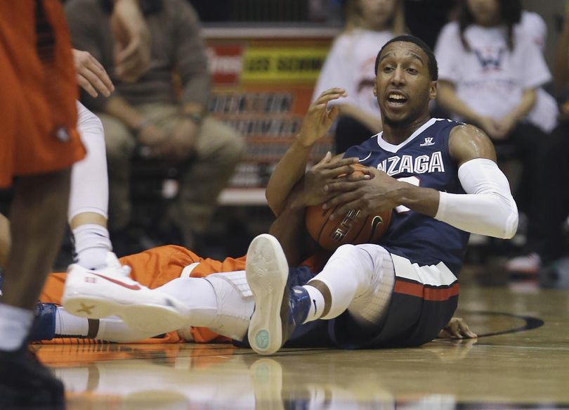 Gonzaga guard Eric McClellan comes up with a loose ball  during the second half. (Rich Pedroncelli / Associated Press)