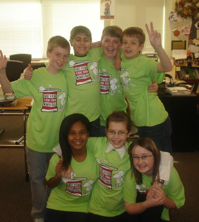 This is the Sunrise Elementary School Able Learner Destination Imagination team that took second-place in  state tournament. Back row, from left: Camden Crosby, Quinn Holmdahl, Matthew Naccarato and Nathan Carroll. Front row:  Mikayla Williamson, Ellie McDonald and Jesse Todd. Photo courtesy of Central Valley School District (Photo courtesy of Central Valley School District / The Spokesman-Review)