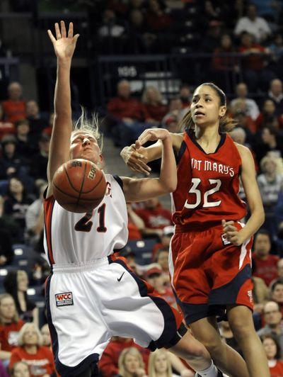 Jasmine Smith of Saint Mary's, right, fouls Gonzaga's Courtney Vandersloot as she drives to the basket.  (Dan Pelle)