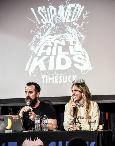 "Dan Cummins and Lynze Cummins host their podcast, ""Timesuck,"" at the 2019 Nashville Comedy Festival in Tennessee.  (Rick Diamond)"