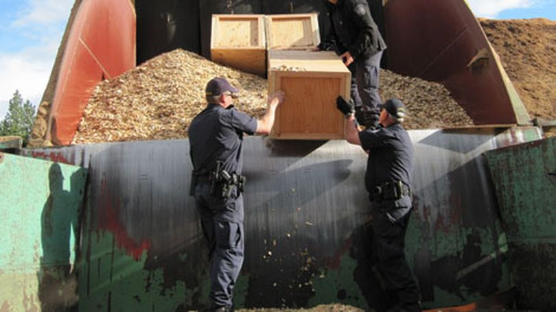 U.S. border agents discovered five wooden crates filled with marijuana inside a load of woodchips at the Laurier border crossing. July 2, 2010. (U.S. Customs and Border Protection) (U.S, Customs and Border Proteection)