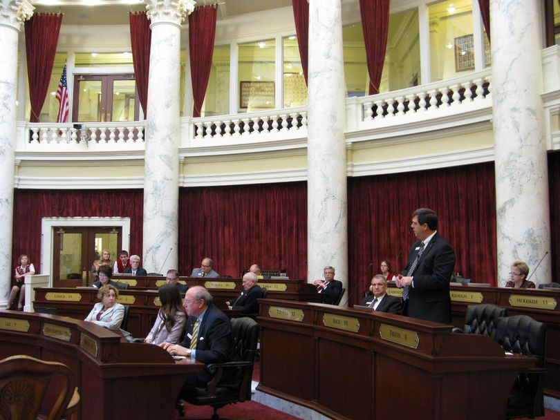 Sen. Jim Rice, R-Caldwell, debates in favor of HB 312a on Tuesday evening (Betsy Russell)