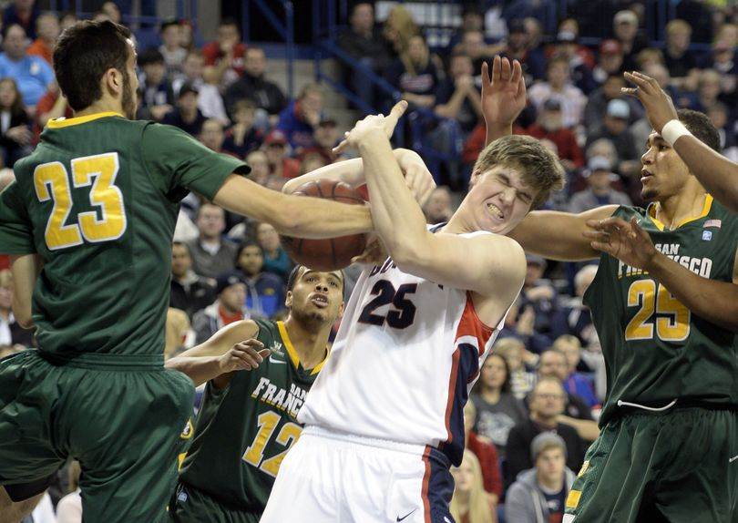 Gonzaga's Ryan Edwards (25) struggles for the rebounds with San Francisco's Mark Tollefsen, left, and Cole Dickerson, right, Monday, Dec. 30, 2013 at the McCarthey Athletic Center. Gerard Coleman, right, comes in to help defend. The Zags ended the first half up 41-23 against the Dons. (Jesse Tinsley / The Spokesman-Review)