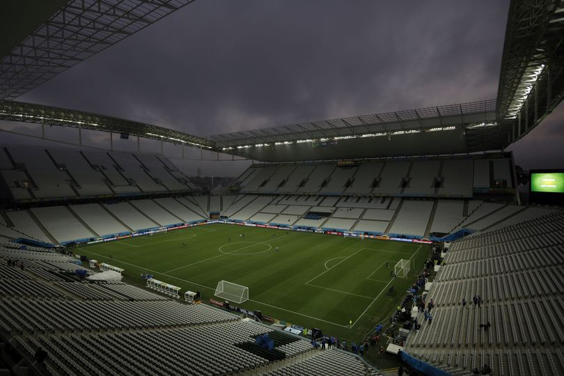 General view at the Itaquerao Stadium during an official training session the day before the group A World Cup soccer match between Brazil and Croatia in the Itaquerao Stadium, Sao Paulo, Brazil, Wednesday, June 11, 2014. (Felipe Dana / Associated Press)