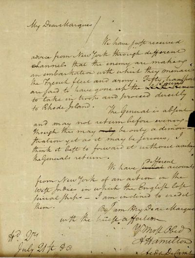 A 1780 letter from Alexander Hamilton to the Marquis de Lafayette, that was stolen from the Massachusetts Archives decades ago is shown in federal court as part of a forfeiture complaint by the U.S. attorney's office in Boston.  (HOGP)