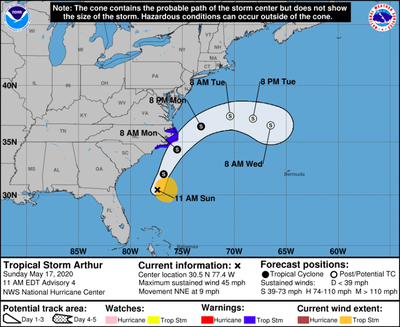 The National Weather Service released this projected path of Tropical Storm Arthur on Sunday, May 17, 2020. (National Weather Service)