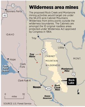 Map shows existing and proposed mines around the Cabinet Mountains Wilderness. (Molly Quinn)